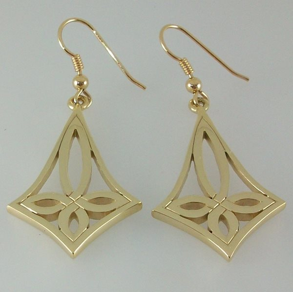Benbecula Cross Earrings 9ct Gold